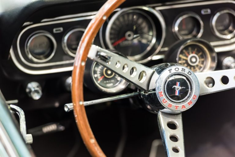 steering wheel of a car