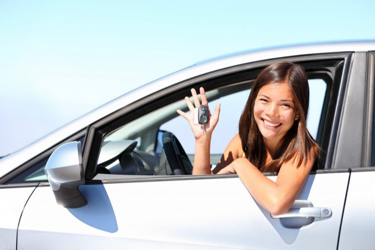 woman on new car